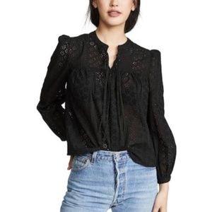 Madewell black eyelet lace long sleeve blouse
